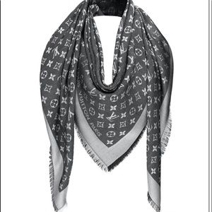 Louis Vuitton Silver Grey Lightweight Wool Scarf